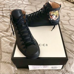 Gucci Leather High Top Sneakers w/Tiger Embroidery